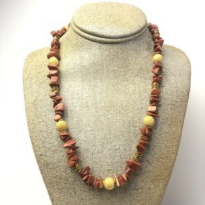 Gold Stoned Bead Necklace
